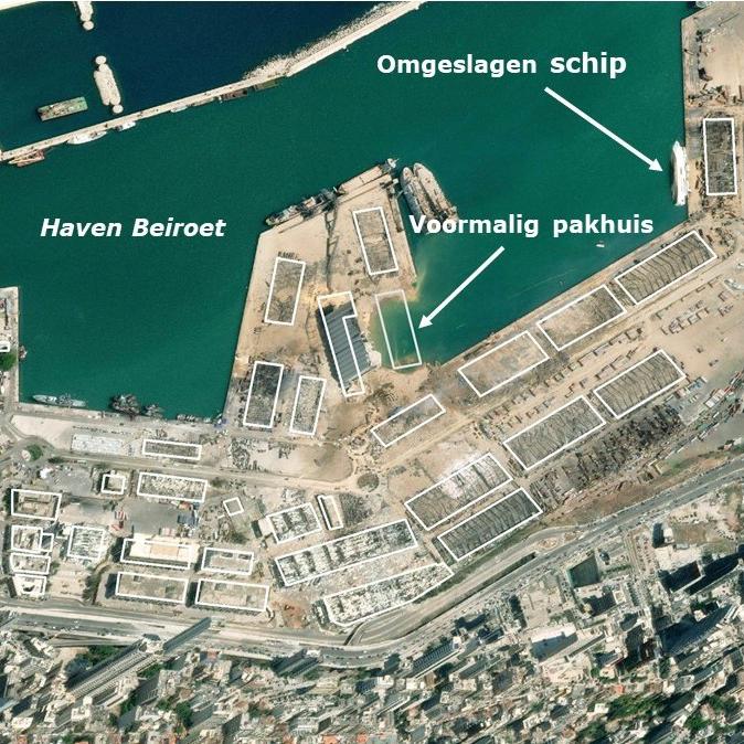 beiroet explosie haven satellietbeeld